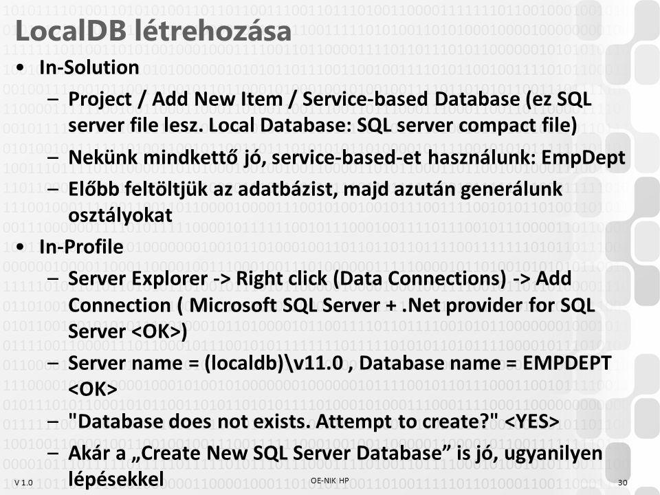 LocalDB létrehozása In-Solution