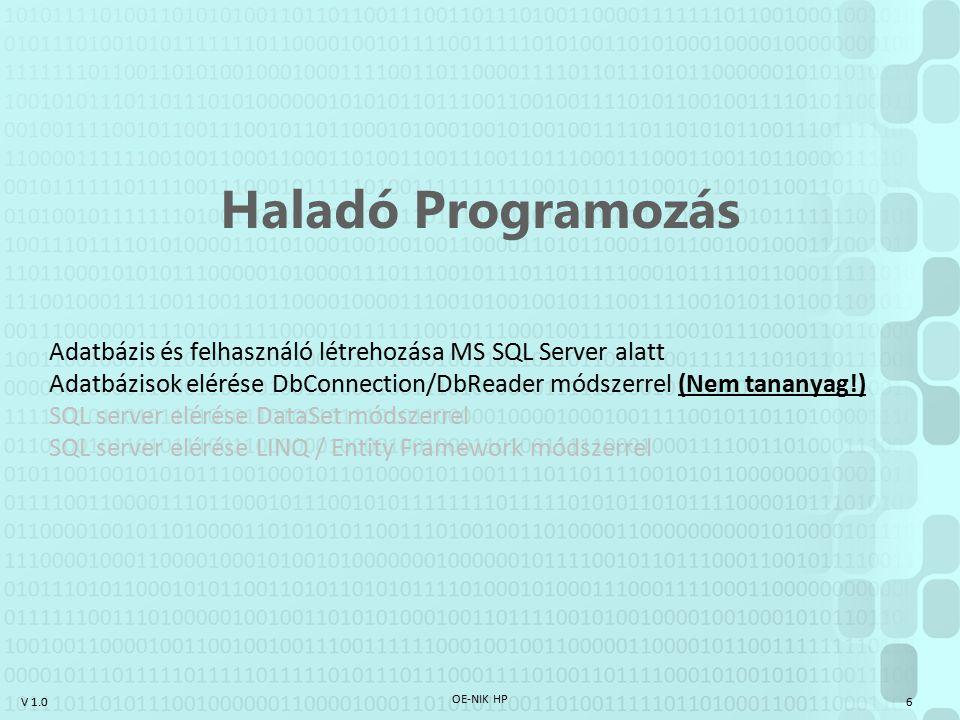 Haladó Programozás Adatbázis és felhasználó létrehozása MS SQL Server alatt. Adatbázisok elérése DbConnection/DbReader módszerrel (Nem tananyag!)