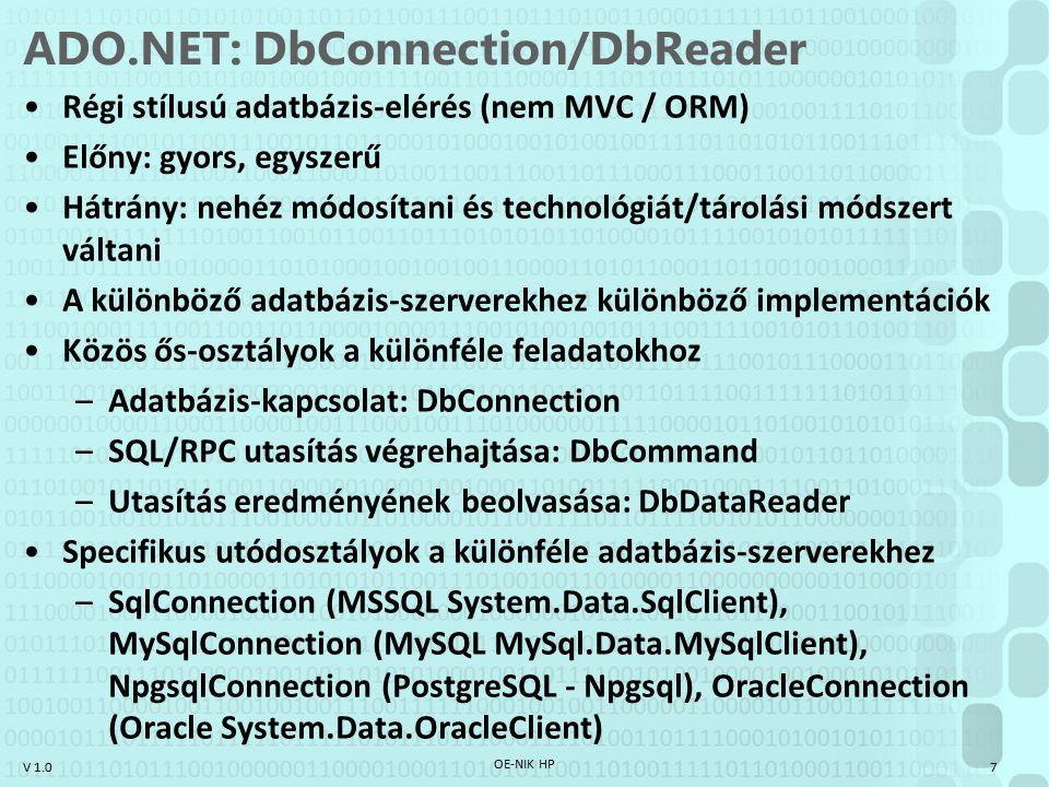 ADO.NET: DbConnection/DbReader
