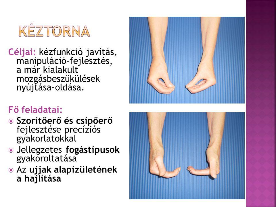 Kéztorna Céljai: kézfunkció javítás, manipuláció-fejlesztés, a már kialakult mozgásbeszűkülések nyújtása-oldása.