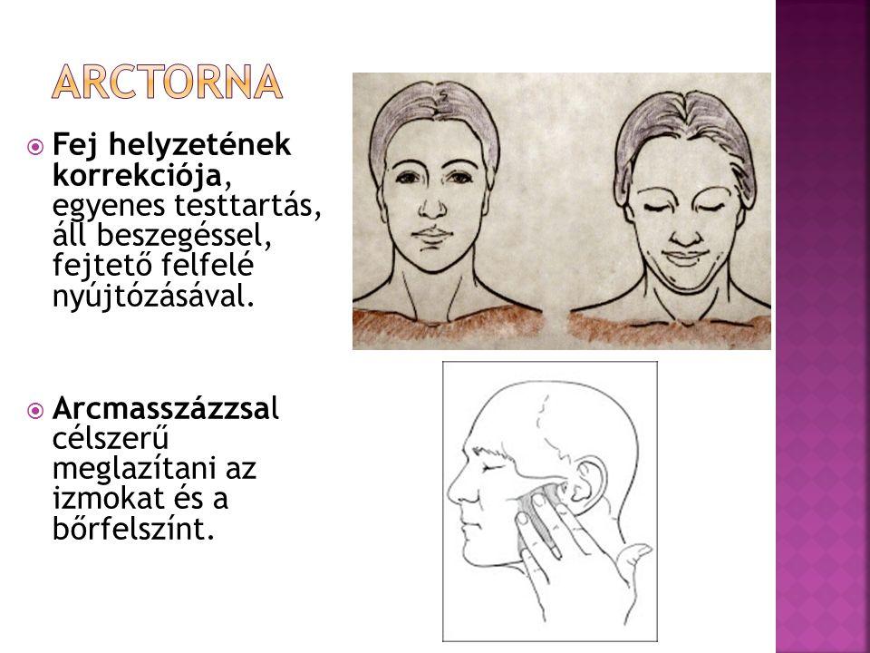 Arctorna Fej helyzetének korrekciója, egyenes testtartás, áll beszegéssel, fejtető felfelé nyújtózásával.