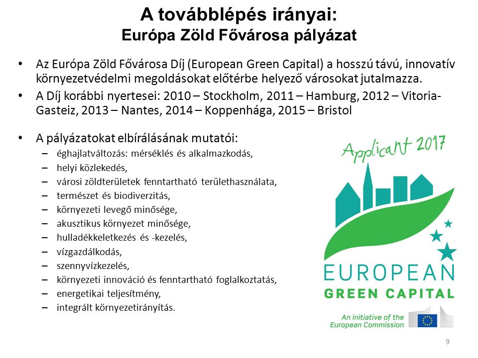 A továbblépés irányai: Európa Zöld Fővárosa pályázat