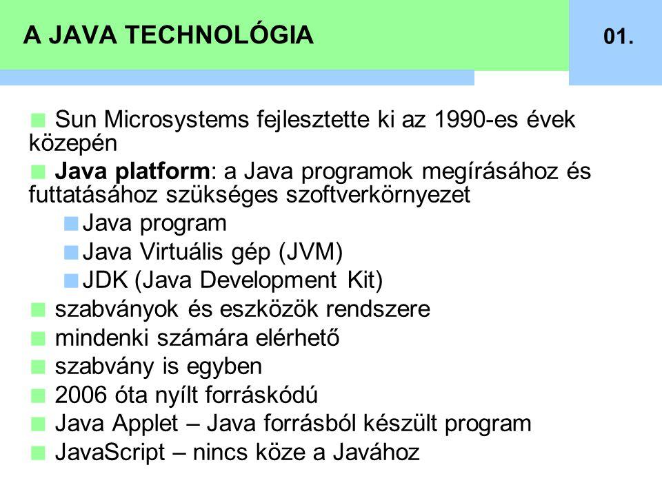A JAVA TECHNOLÓGIA 01. Sun Microsystems fejlesztette ki az 1990-es évek közepén.
