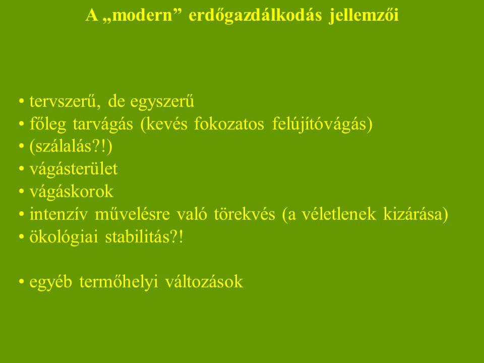 """A """"modern erdőgazdálkodás jellemzői"""
