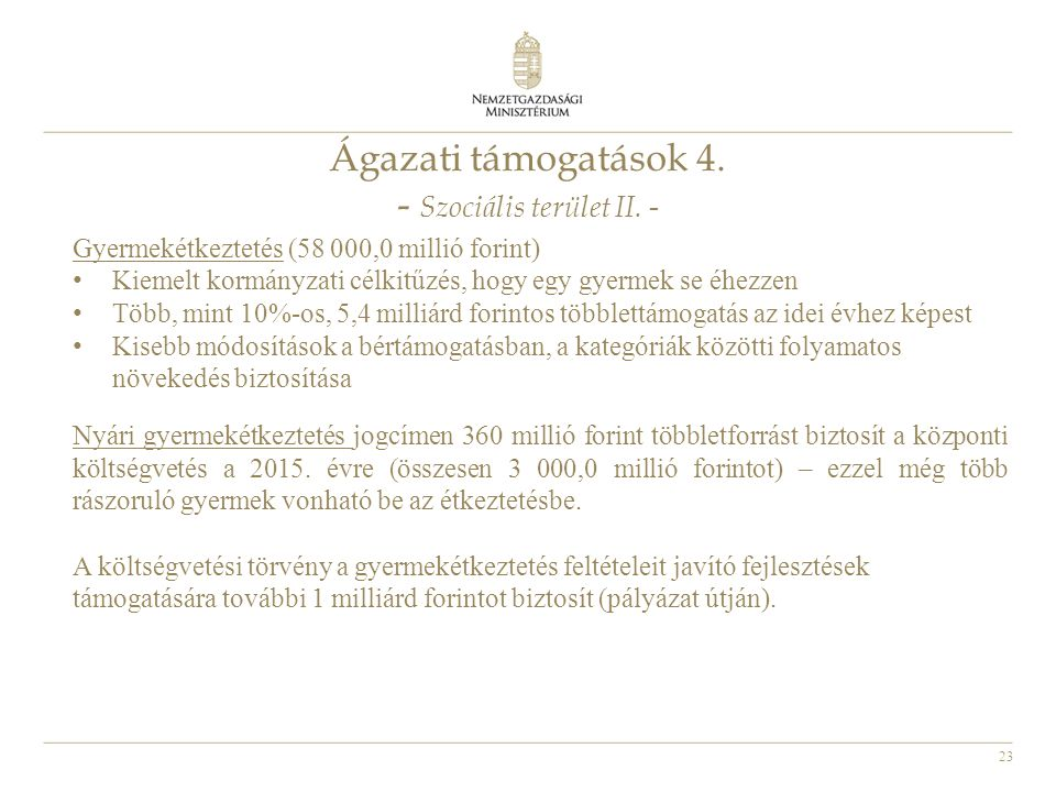 Ágazati támogatások 4. - Szociális terület II. -