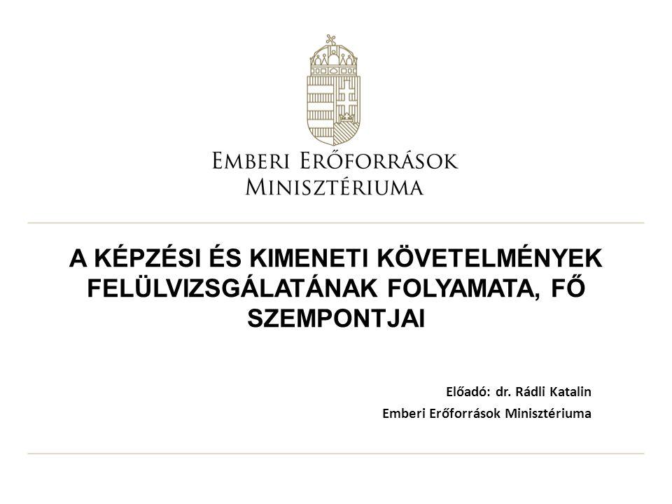 Előadó: dr. Rádli Katalin Emberi Erőforrások Minisztériuma