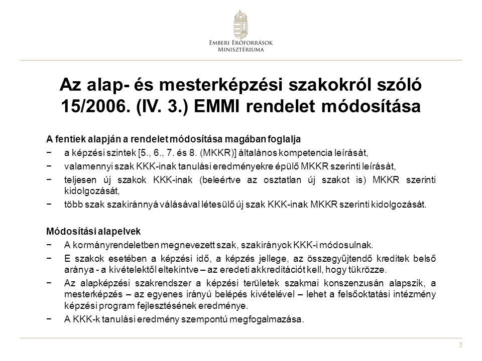 Az alap- és mesterképzési szakokról szóló 15/2006. (IV. 3
