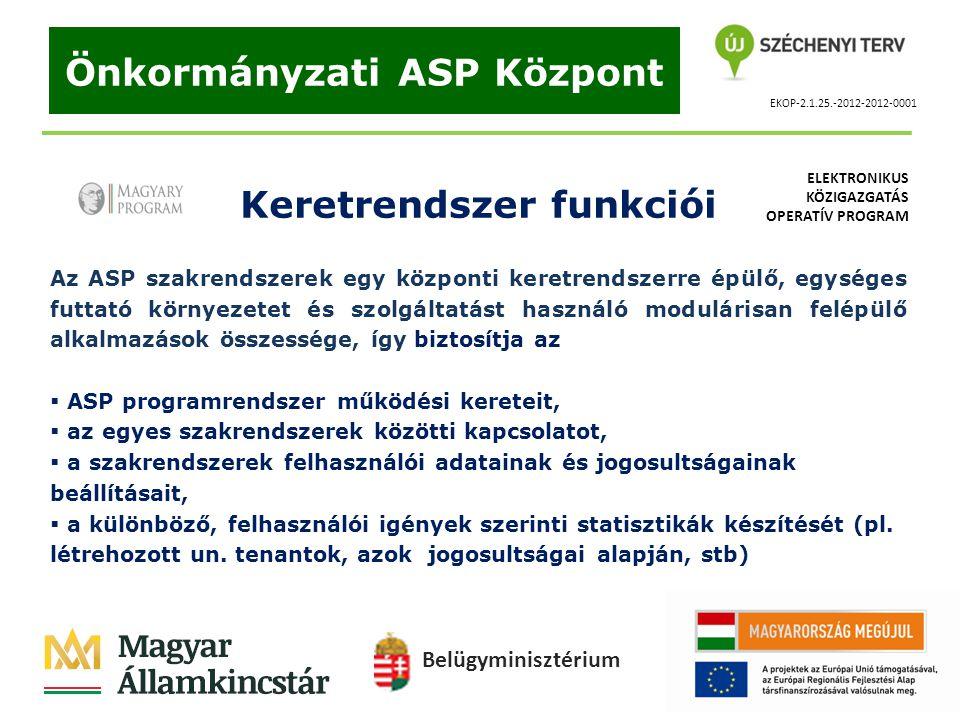 Önkormányzati ASP Központ Keretrendszer funkciói