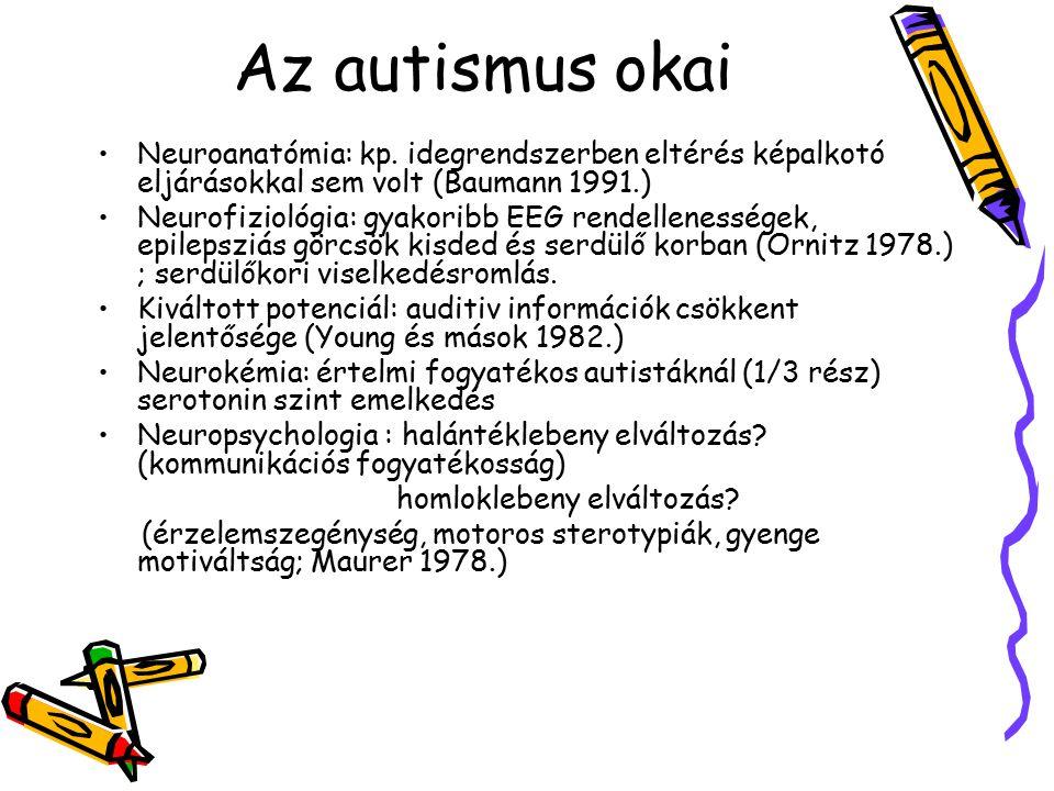 Az autismus okai Neuroanatómia: kp. idegrendszerben eltérés képalkotó eljárásokkal sem volt (Baumann 1991.)