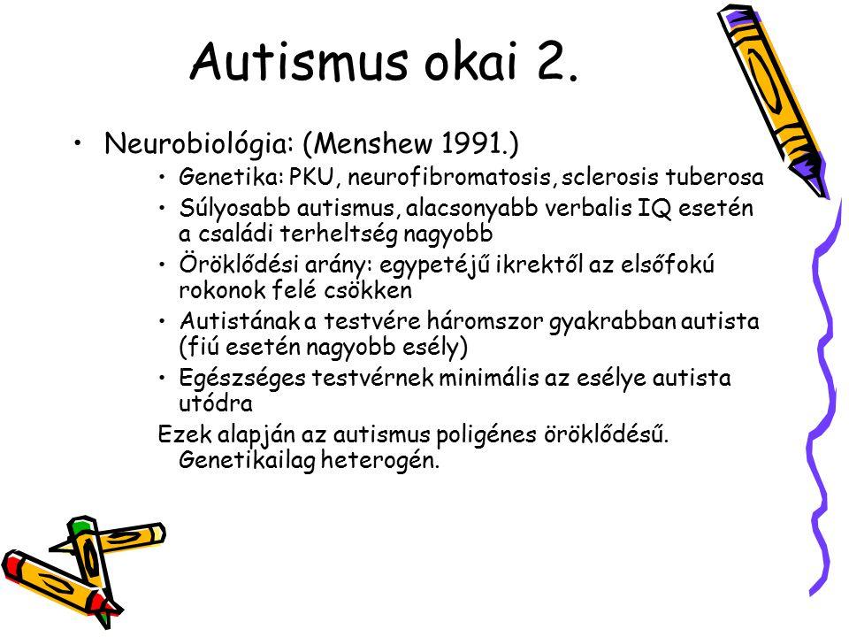 Autismus okai 2. Neurobiológia: (Menshew 1991.)