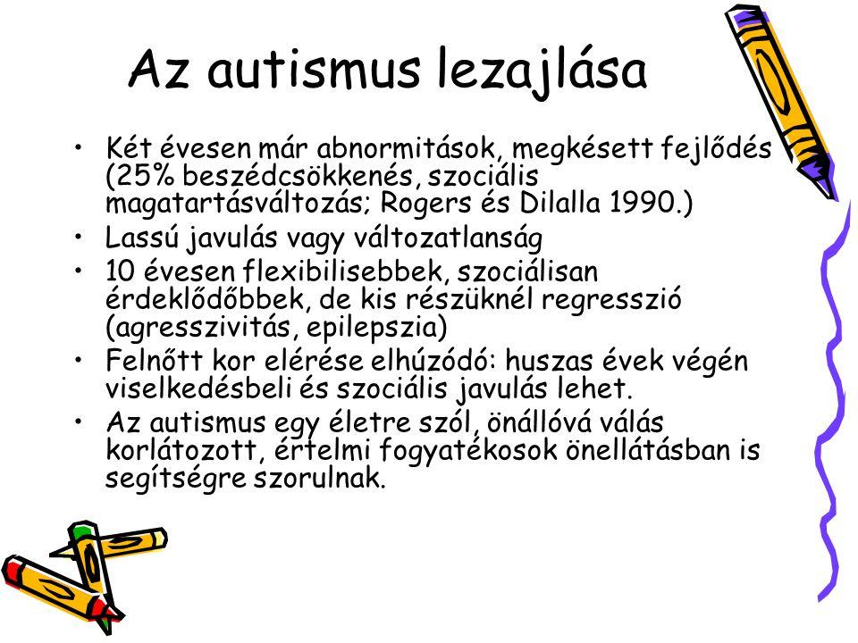Az autismus lezajlása Két évesen már abnormitások, megkésett fejlődés (25% beszédcsökkenés, szociális magatartásváltozás; Rogers és Dilalla 1990.)