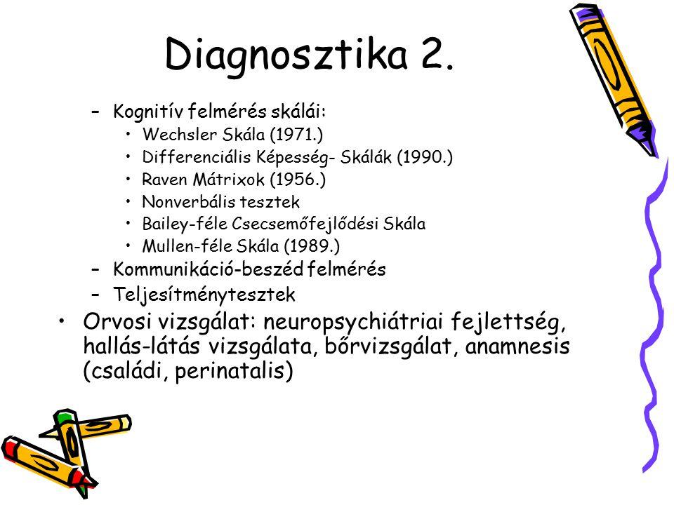 Diagnosztika 2. Kognitív felmérés skálái: Wechsler Skála (1971.) Differenciális Képesség- Skálák (1990.)