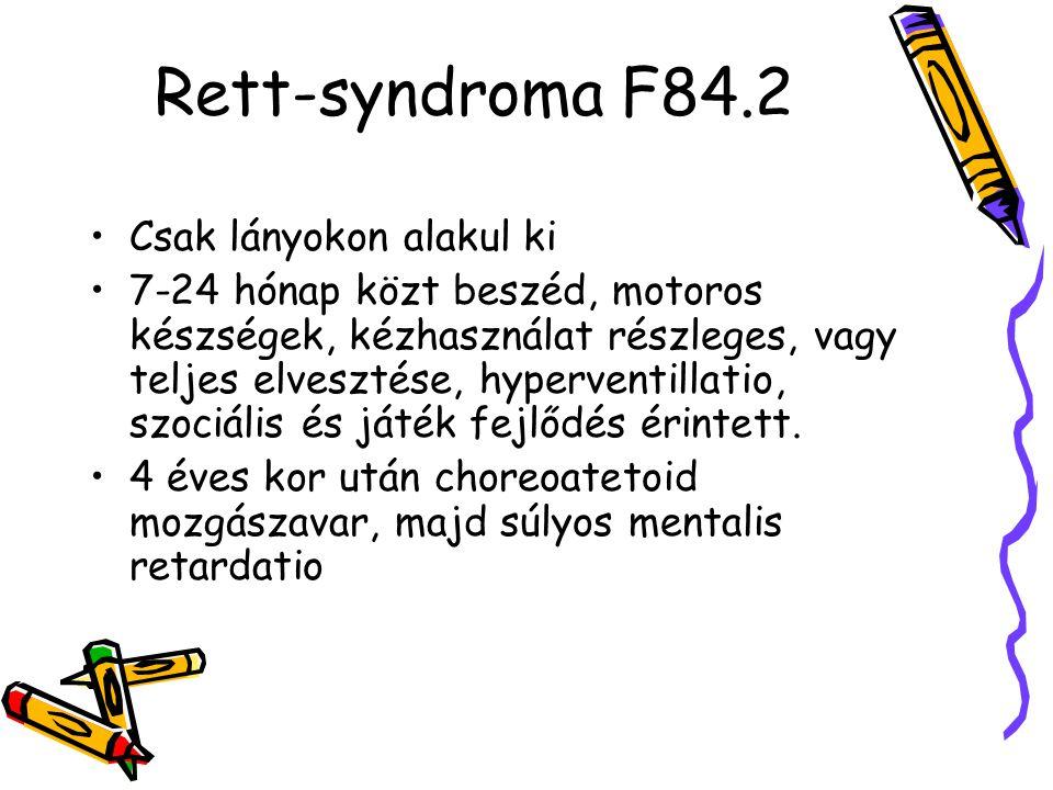 Rett-syndroma F84.2 Csak lányokon alakul ki