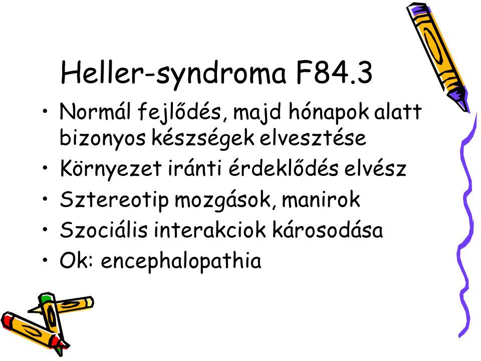 Heller-syndroma F84.3 Normál fejlődés, majd hónapok alatt bizonyos készségek elvesztése. Környezet iránti érdeklődés elvész.