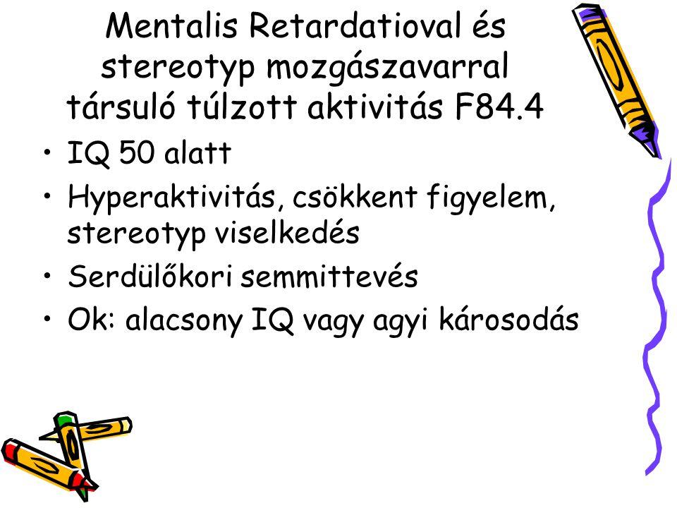 Mentalis Retardatioval és stereotyp mozgászavarral társuló túlzott aktivitás F84.4