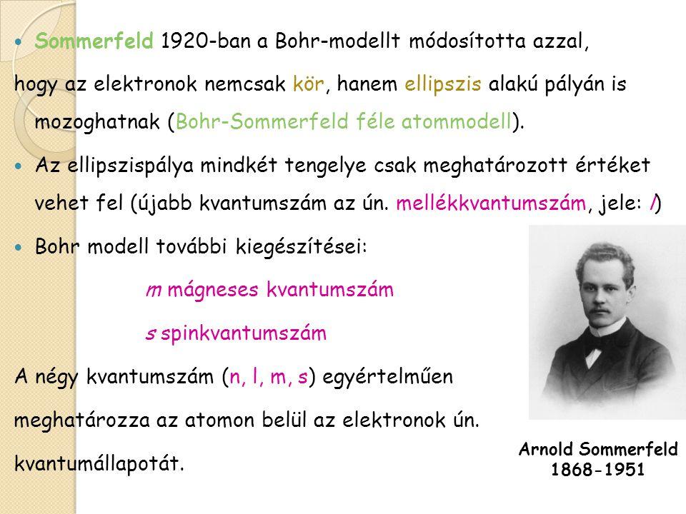 Sommerfeld 1920-ban a Bohr-modellt módosította azzal,