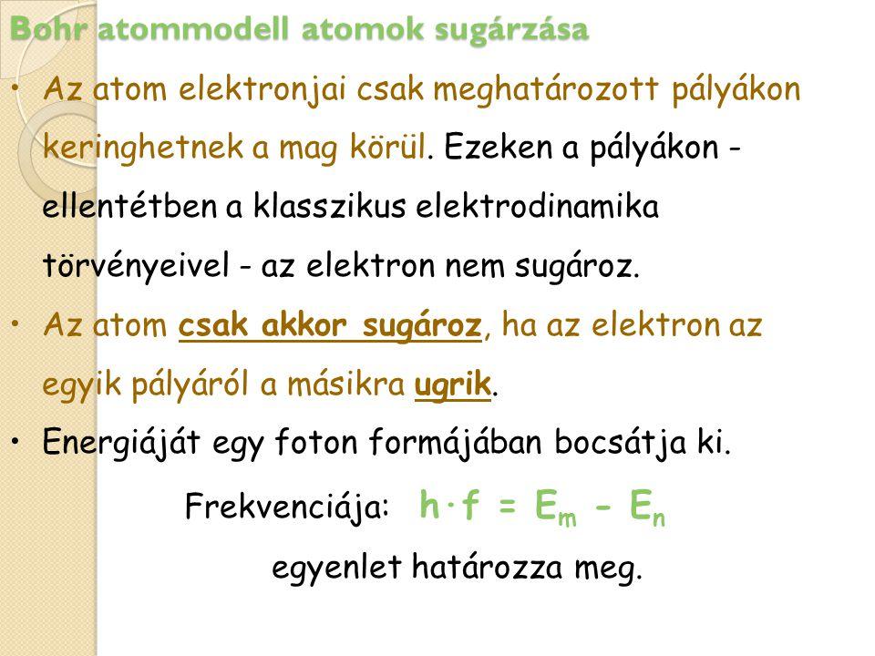 Bohr atommodell atomok sugárzása
