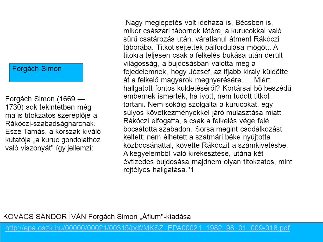 """KOVÁCS SÁNDOR IVÁN Forgách Simon """"Áfium -kiadása"""