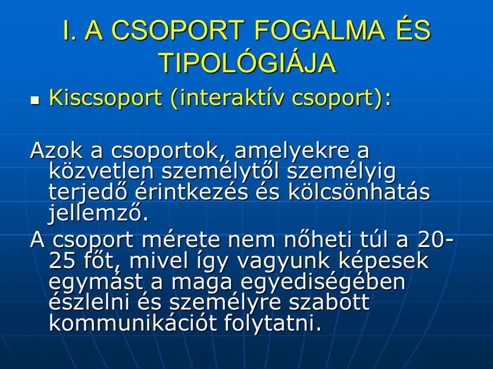 I. A CSOPORT FOGALMA ÉS TIPOLÓGIÁJA