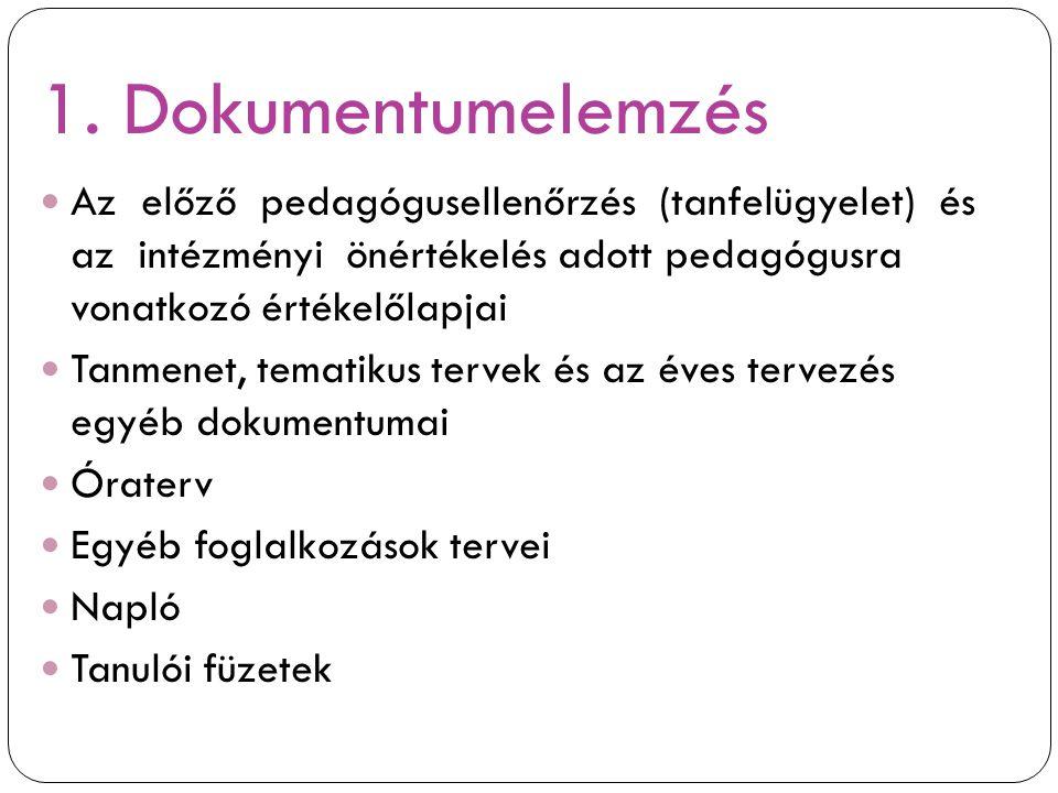 1. Dokumentumelemzés Az előző pedagógusellenőrzés (tanfelügyelet) és az intézményi önértékelés adott pedagógusra vonatkozó értékelőlapjai.