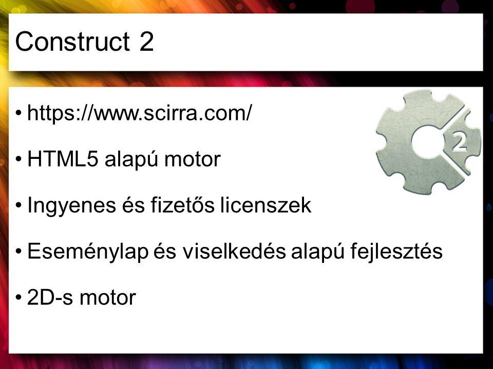 Construct 2 https://www.scirra.com/ HTML5 alapú motor