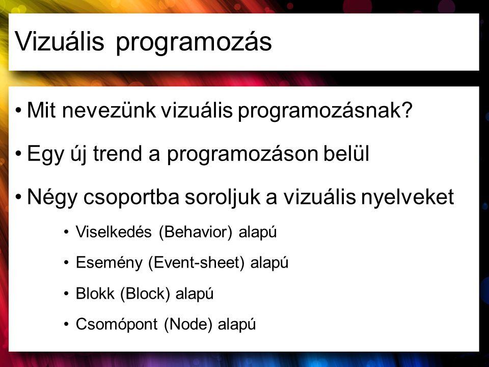 Vizuális programozás Mit nevezünk vizuális programozásnak