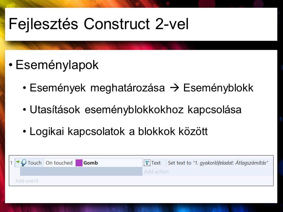 Fejlesztés Construct 2-vel