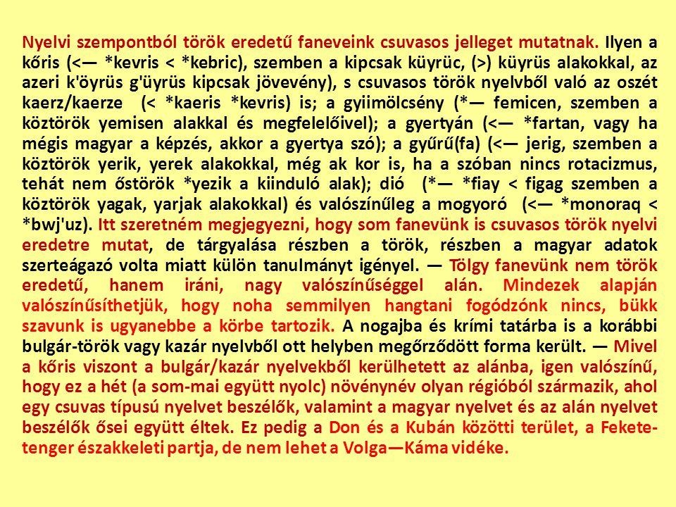 Nyelvi szempontból török eredetű faneveink csuvasos jelleget mutatnak