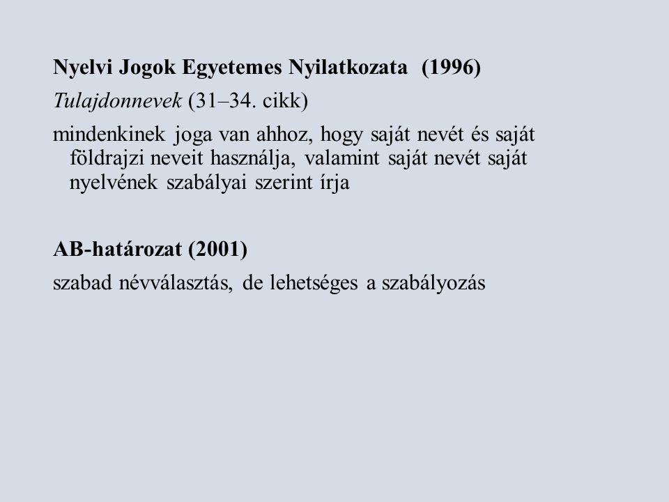 Nyelvi Jogok Egyetemes Nyilatkozata (1996) Tulajdonnevek (31–34