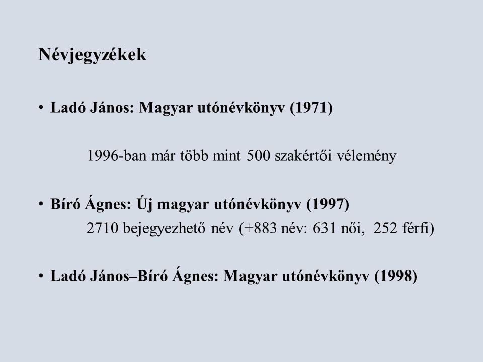 Névjegyzékek Ladó János: Magyar utónévkönyv (1971)