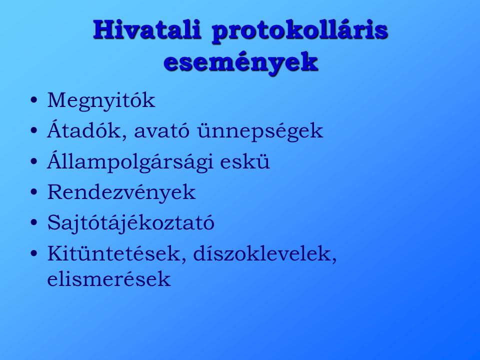 Hivatali protokolláris események