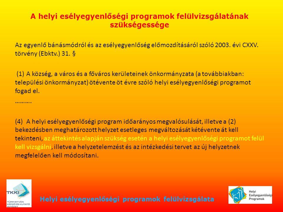 Helyi esélyegyenlőségi programok felülvizsgálata