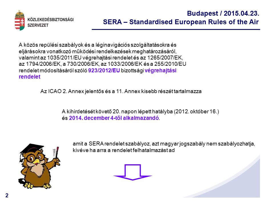 SERA – Standardised European Rules of the Air