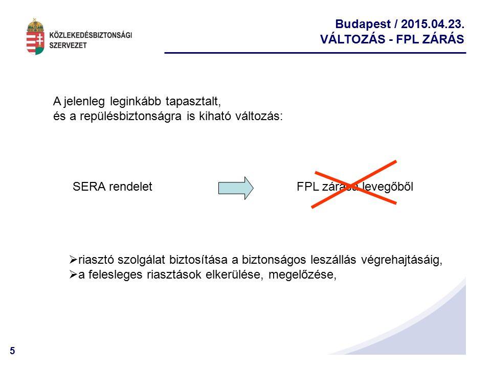VÁLTOZÁS - FPL ZÁRÁS A jelenleg leginkább tapasztalt, és a repülésbiztonságra is kiható változás: SERA rendelet.