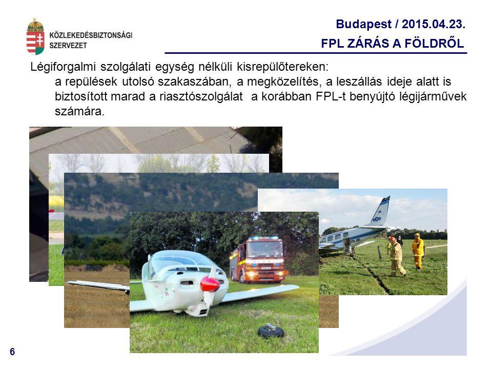 FPL ZÁRÁS A FÖLDRŐL Légiforgalmi szolgálati egység nélküli kisrepülőtereken: