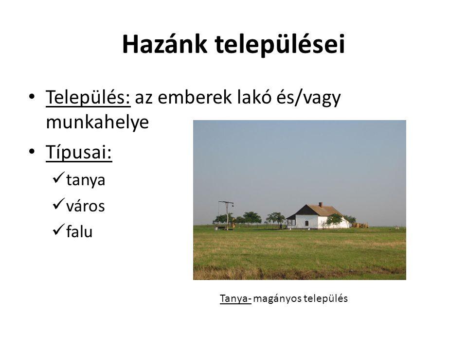 Hazánk települései Település: az emberek lakó és/vagy munkahelye