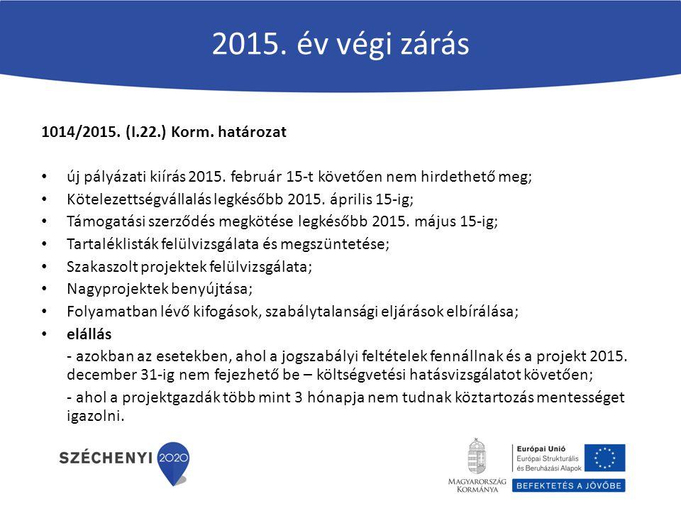 2015. év végi zárás 1014/2015. (I.22.) Korm. határozat