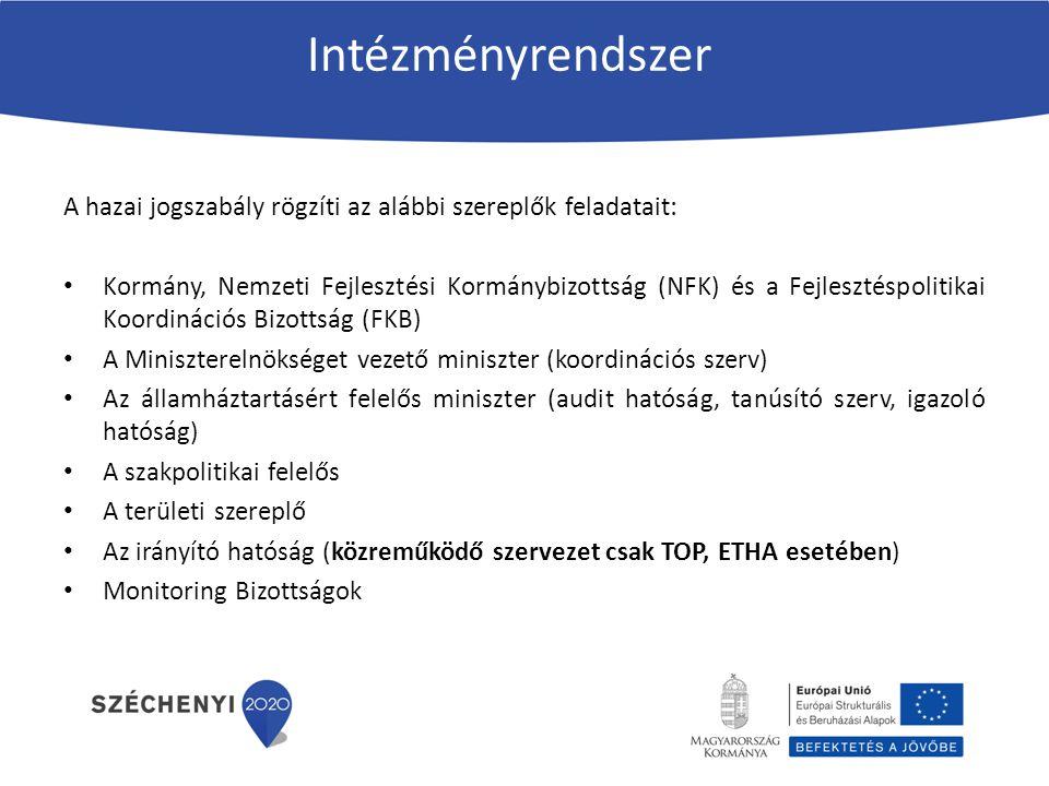 Intézményrendszer A hazai jogszabály rögzíti az alábbi szereplők feladatait: