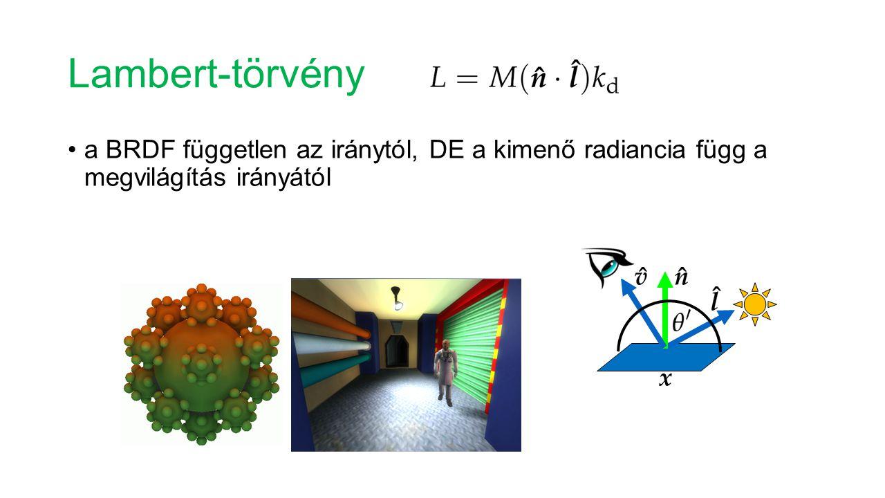 Lambert-törvény a BRDF független az iránytól, DE a kimenő radiancia függ a megvilágítás irányától.