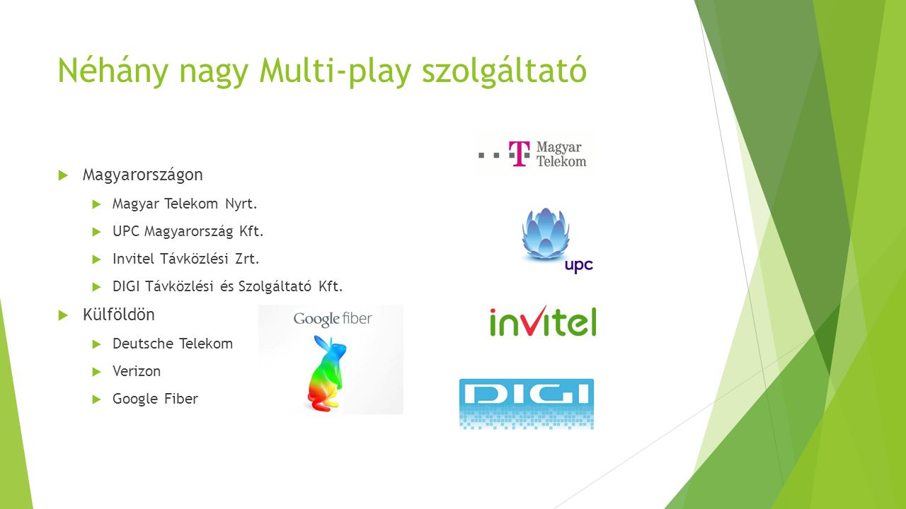 Néhány nagy Multi-play szolgáltató