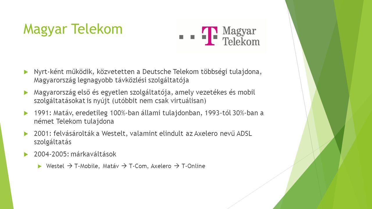 Magyar Telekom Nyrt-ként működik, közvetetten a Deutsche Telekom többségi tulajdona, Magyarország legnagyobb távközlési szolgáltatója.