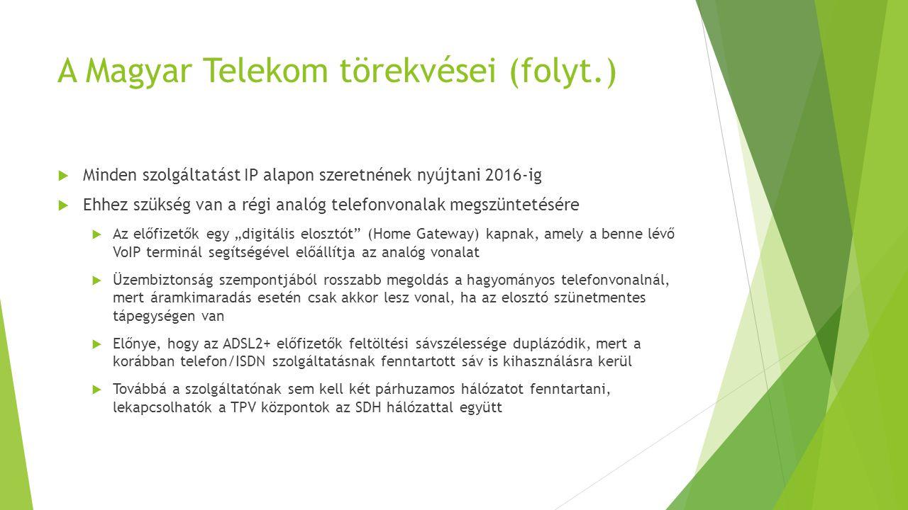 A Magyar Telekom törekvései (folyt.)