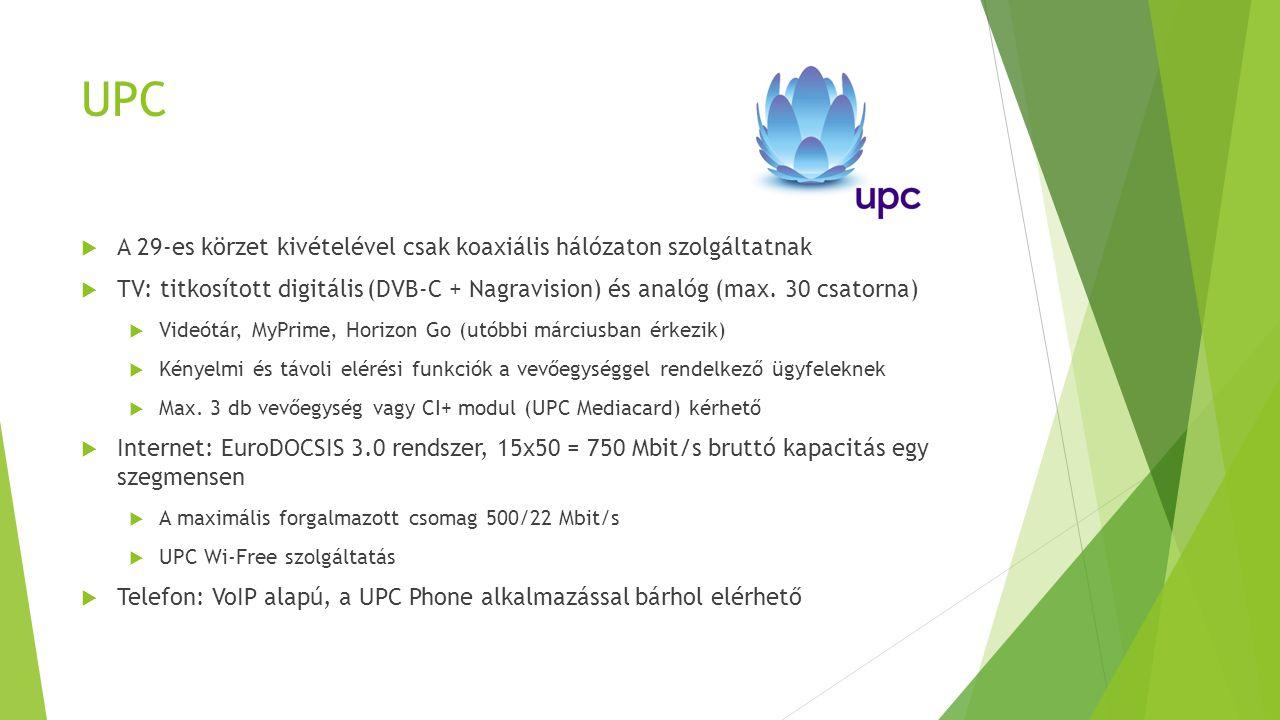 UPC A 29-es körzet kivételével csak koaxiális hálózaton szolgáltatnak
