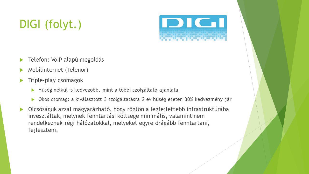 DIGI (folyt.) Telefon: VoIP alapú megoldás Mobilinternet (Telenor)