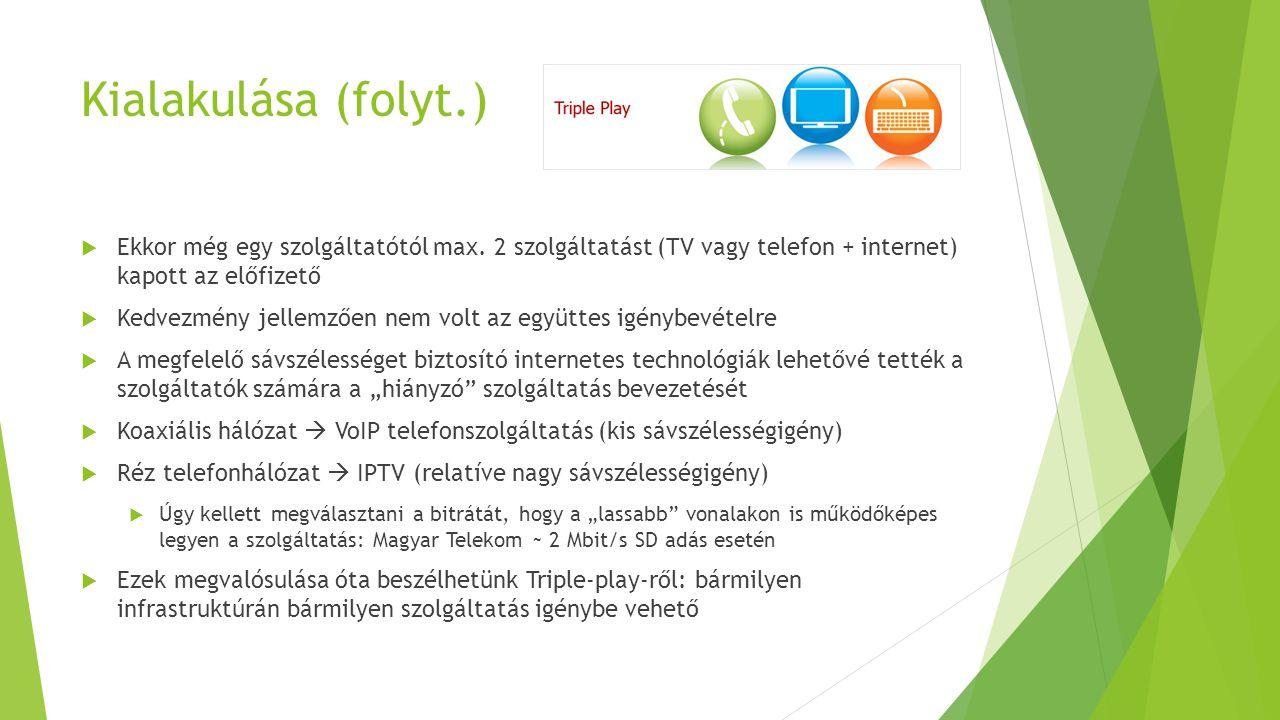 Kialakulása (folyt.) Ekkor még egy szolgáltatótól max. 2 szolgáltatást (TV vagy telefon + internet) kapott az előfizető.