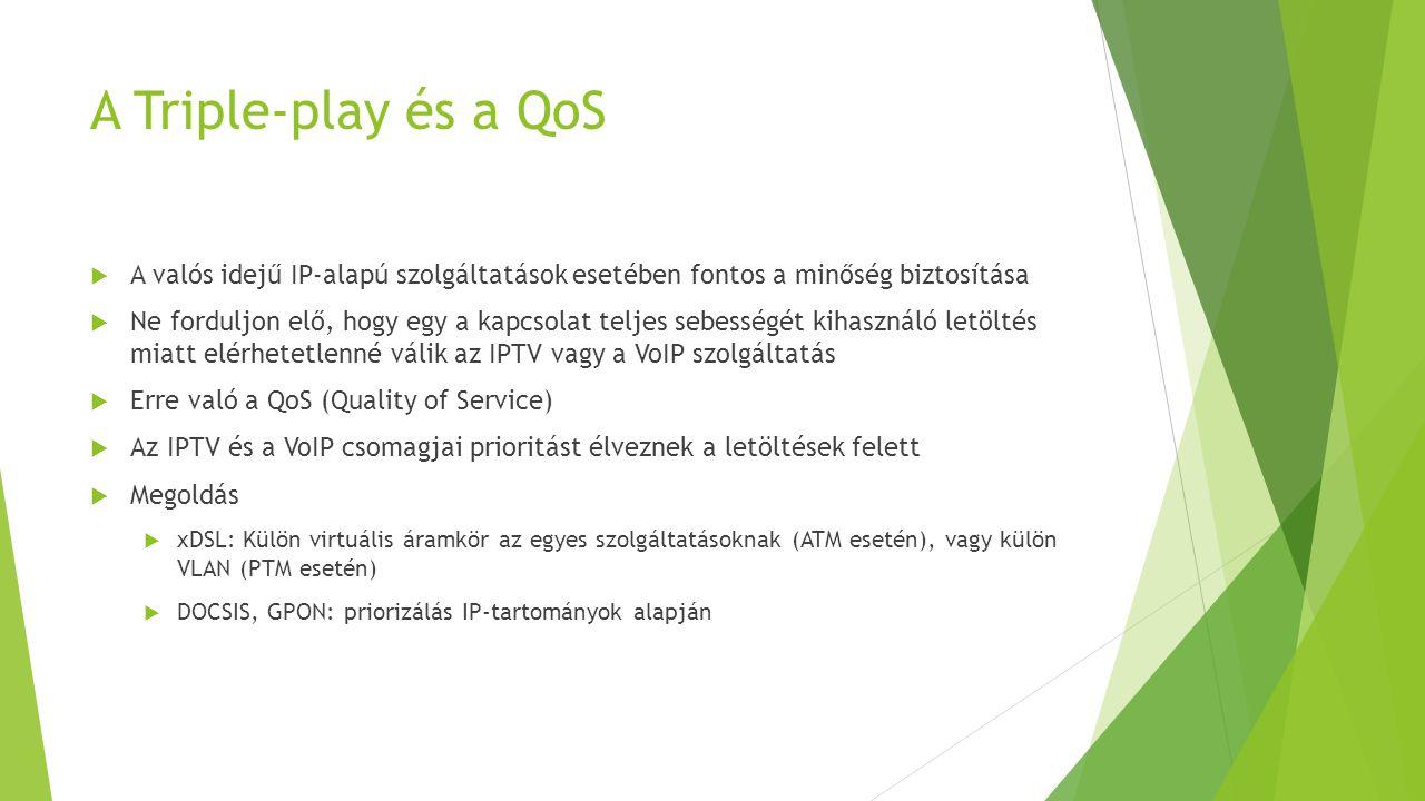A Triple-play és a QoS A valós idejű IP-alapú szolgáltatások esetében fontos a minőség biztosítása.