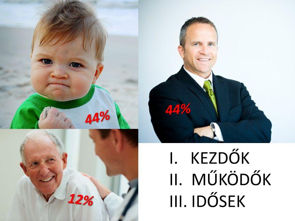 ÜGYFELEINK 44% 44% KEZDŐK MŰKÖDŐK IDŐSEK 12%
