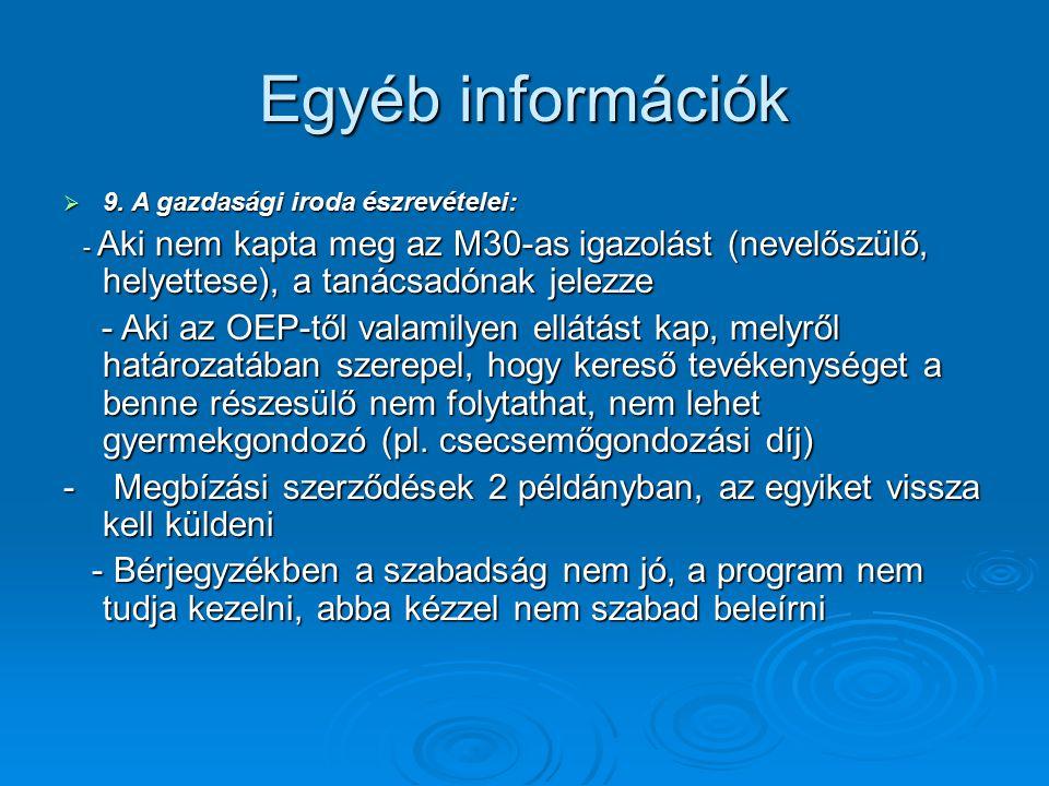 Egyéb információk 9. A gazdasági iroda észrevételei: - Aki nem kapta meg az M30-as igazolást (nevelőszülő, helyettese), a tanácsadónak jelezze.