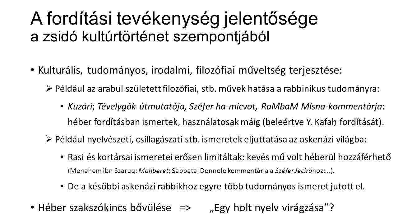 A fordítási tevékenység jelentősége a zsidó kultúrtörténet szempontjából