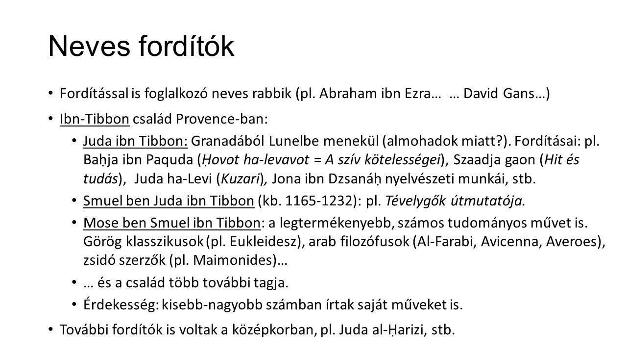 Neves fordítók Fordítással is foglalkozó neves rabbik (pl. Abraham ibn Ezra… … David Gans…) Ibn-Tibbon család Provence-ban:
